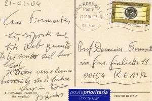 Una cartolina autografa di Padre Busa