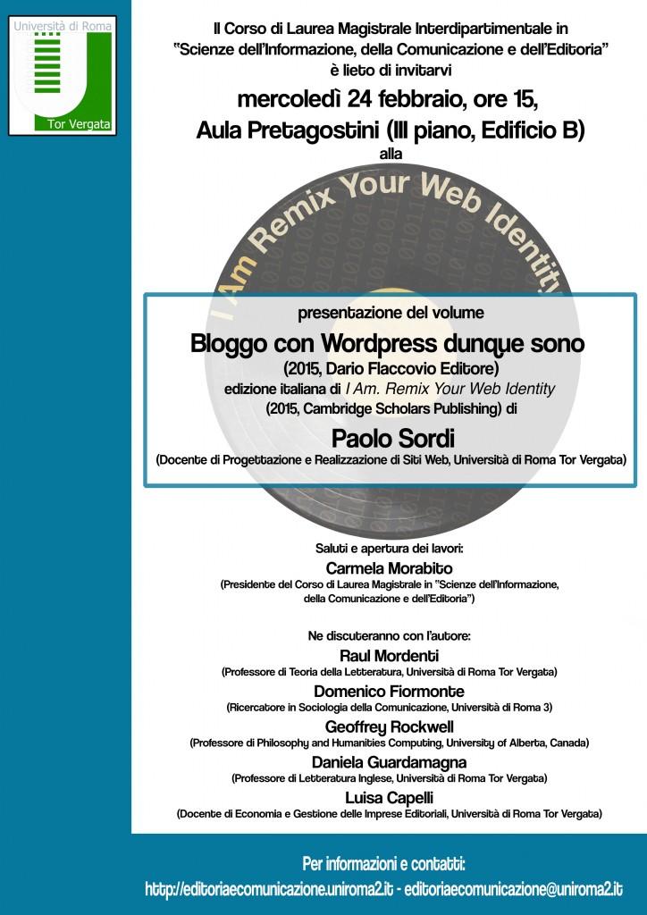 Locandina presentazione 'Bloggo con WordPress dunque sono' di Paolo Sordi
