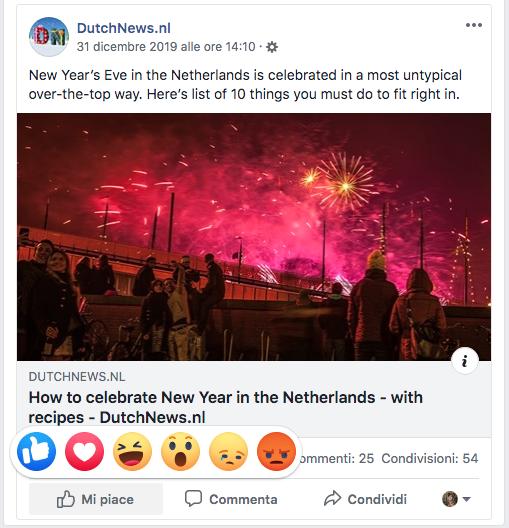 Schermata Facebook Con Emoji Per Reazioni A Un Post